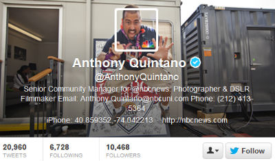 NBC News employee Anthony Quintano has fun with his header image