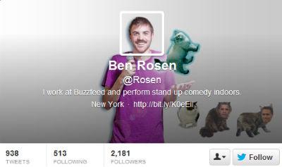 Buzzfeed's Ben Rosen incorporates his avatar seamlessly into his header image.