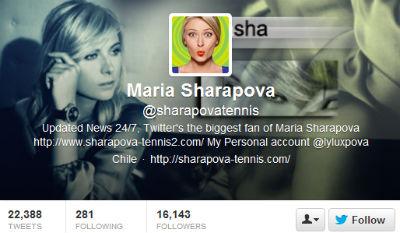 Tennis star Maria Sharapova's bright avatar pops against the black and white background.