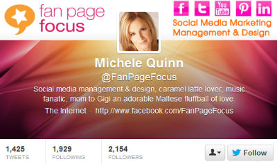 Michele Quinn is using her Twitter header to let followers know about her other social media networks.