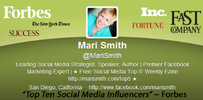 Why not use your header to showcase your accomplishments like Mari Smith?