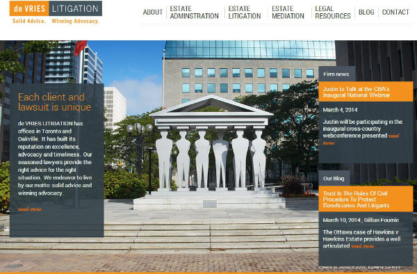 de VRIES LITIGATION website redesign