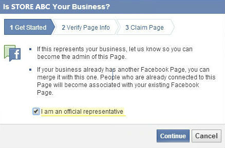 Claiming Facebook page