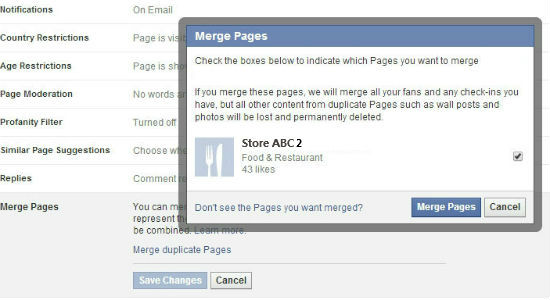 Facebook merging pages