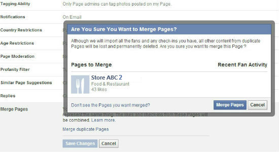 Facebook merge duplicate pages