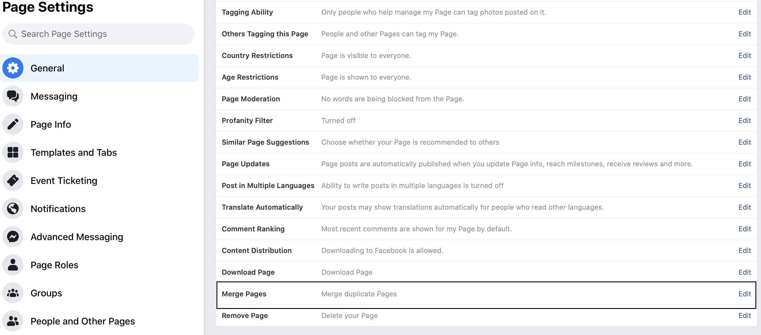 Merging Facebook Pages