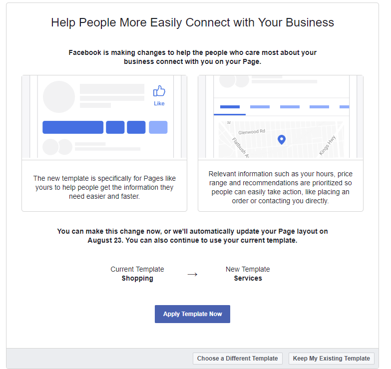 facebook new page template switch